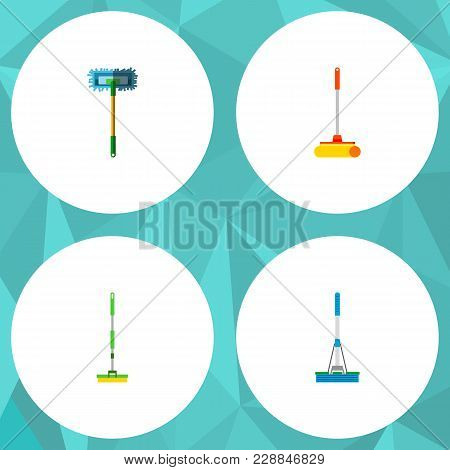 Icon Flat Cleaner Set Of Broomstick, Mop, Sweep And Other  Objects. Also Includes Mop, Sweep, Cleani