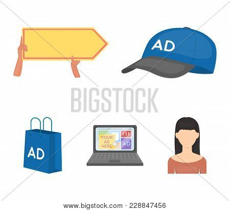 Baseball Cap, Pointer In Hands, Laptop, Shopping Bag.advertising, Set Collection Icons In Cartoon St