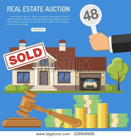 Auctions And Bidding Concept. Buyers Holding Bid In Hand. Gavel And Money. Sale Real Estate At Aucti