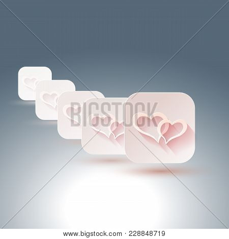 Hearts With Shadows For Designs Of Wedding, Invitations. Vector Illustration.