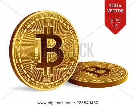 Bitcoin. 3d Isometric Physical Bit Coin. Digital Currency. Cryptocurrency. Two Golden Coins With Bit