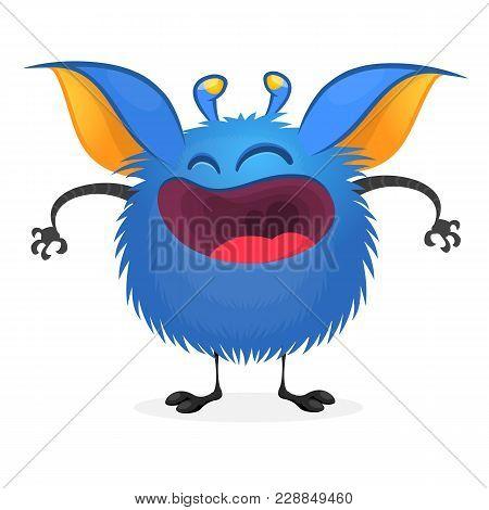 Happy Cute Cartoon Monster. Halloween Vector Illustration
