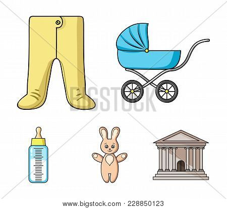 Stroller, Bottle With A Pacifier, Toy, Sliders.baby Born Set Collection Icons In Cartoon Style Vecto