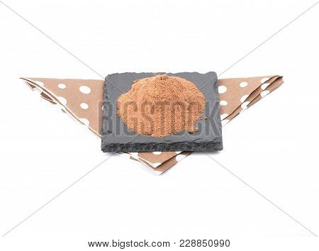 Colorful And Crisp Image Of Cocoa Powder On Shale And White