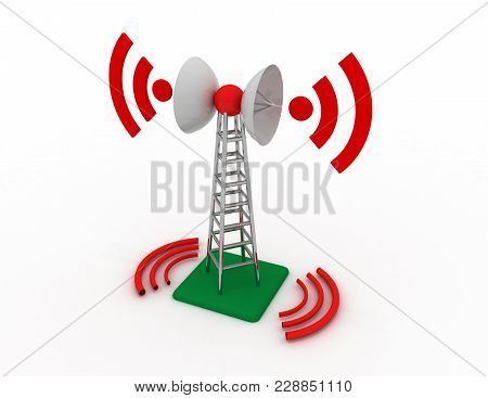 Telecommunication Antenna Tower Concept . 3d Rendered Illustration