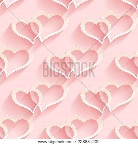Seamless Heart Pattern. Vector Soft Background. Regular Pink Texture
