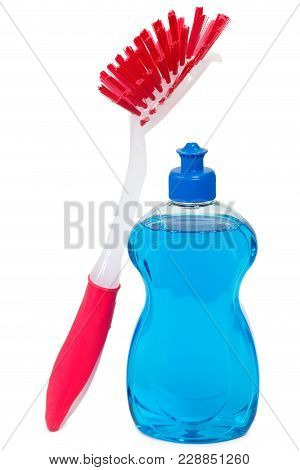 Blue Dishwashing Detergent With Red Brush Over White Background