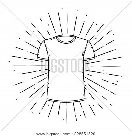 Vector Illustration With T-shirt And Divergent Rays. Used For Poster, Banner, Web, T-shirt Print, Ba