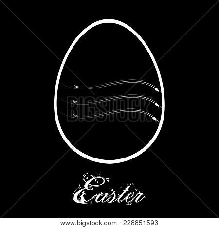 White Decorated Silhouette Of Easter Egg And Decorative Text Over Black Background
