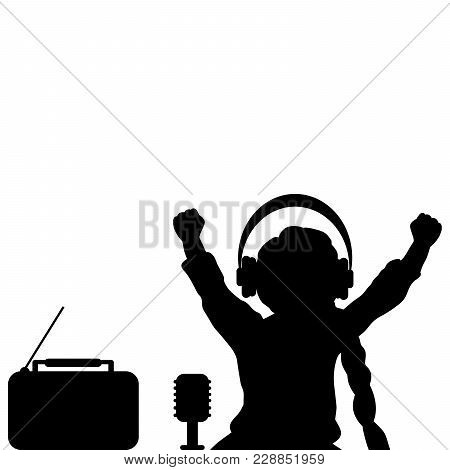 Silhouette Girl Listening To Music With Headphones. World Radio Day. Vector Illustration