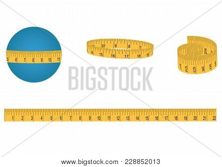 Set - Measuring Tape, Yellow, On A Roll And Long - Isolated On White Background - Art Vector Illustr