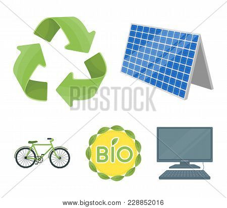 Bio Label, Eco Bike, Solar Panel, Recycling Sign.bio And Ecology Set Collection Icons In Cartoon Sty