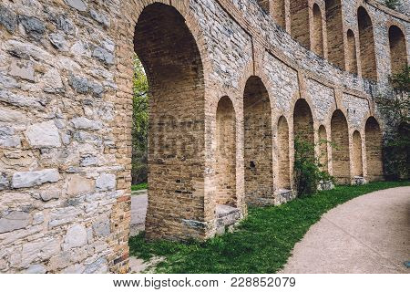 Roman Theater Ruins With Archways On Ruinenberg Hill In Potsdam On Bornstedt Park Area. Unusual Tour