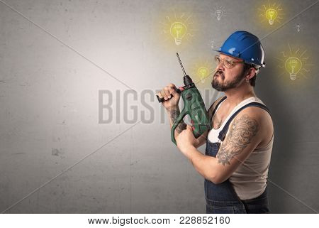 Craftsman with tool and new idea symbol in his hand.