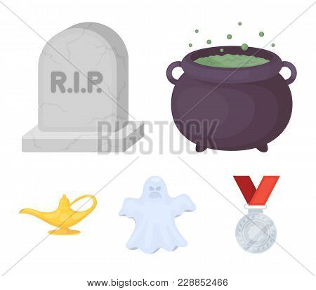 A Witch's Cauldron, A Tombstone, A Ghost, A Gin Lamp.black And White Magic Set Collection Icons In C