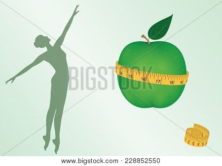 Silhouette Of Woman, Green Apple Clasped By Measuring Tape - Isolated On White Background - Art Vect