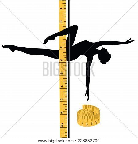 Woman Sport Dancing On A Pole - Measuring Tape - Isolated On White Background - Art Vector Illustrat