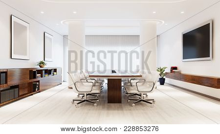 White modern interior of boss office 3D illustration