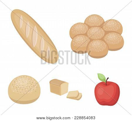Cut Loaf, Bread Roll With Powder, Half Of Bread, Baking.bread Set Collection Icons In Cartoon Style