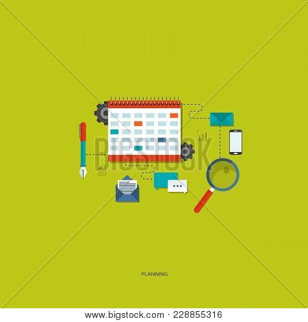 Planning Concept. Flat Designed Concept Illustration Template For Planning And Work Process Organiza