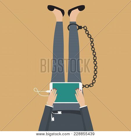 Social Network Addiction Concept. Girl Sitting On The Floor Chained To Tablet. Flat Vector Illustrat