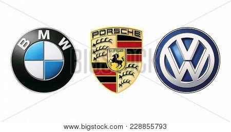 Kiev, Ukraine - November 09, 2017: Collection Of Popular Car Logos Printed On White Paper: Volkswage