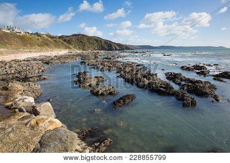 Portwrinkle Cornwall England Uk Coast View With Blue Sky