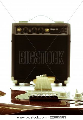 Retro Electric Guitar And Amplifier