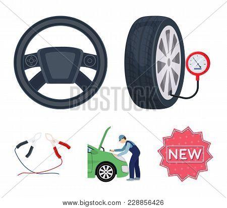 Engine Adjustment, Steering Wheel, Clamp And Wheel Cartoon Icons In Set Collection For Design.car Ma
