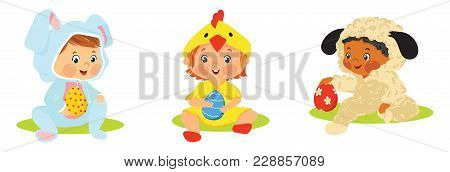 Set Of Kids In Easter Costumes With Eggs. Babies In Bunny, Chick And Lamb Costumes Vector Illustrati