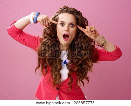 Young Crazy Woman Isolated On Pink Background
