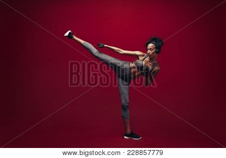 African Female Exercising Taekwondo
