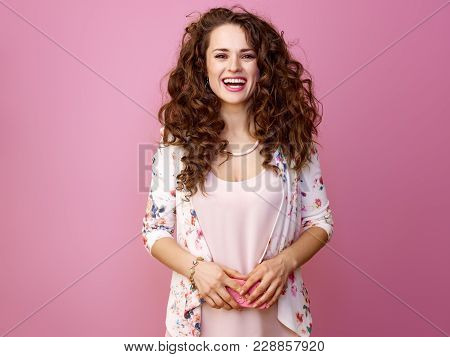 Smiling Trendy Woman Holding Smartphone Isolated On Pink