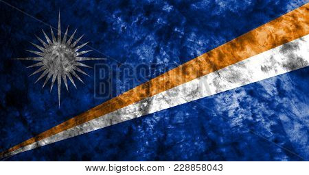 Marshall Islands Grunge Background Flag, Old Vintage Look