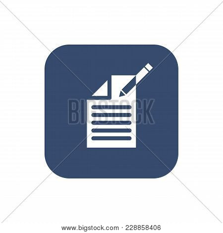 Edit Document Sign Icon. Edit Content Button. Icon On Blurred Background. Vector