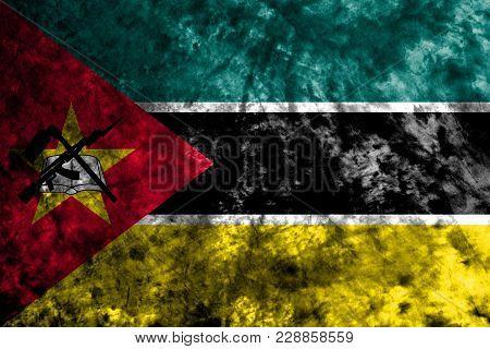 Mozambique Grunge Background Flag, Old Vintage Look