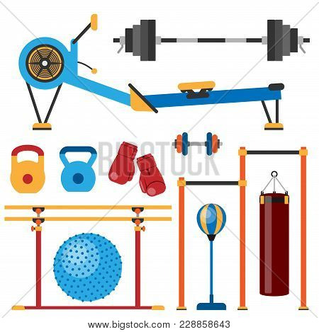Fitness Gym Club Vector Icons. Athlet And Sport Activity Body Tools. Wellness Dumbbell Silhouette Tr