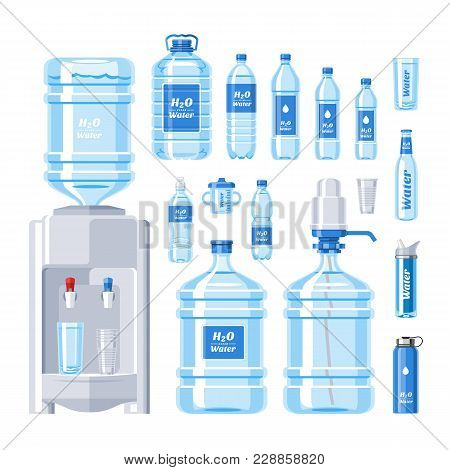 Water Bottle Vector Water Drink Liquid Aqua Bottled In Plastic Container Illustration Set Of Bottlin