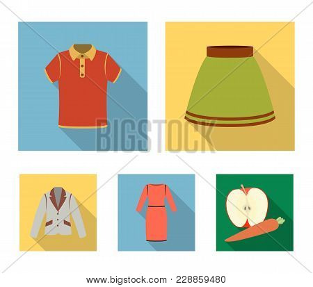 Skirt, T-shirt, Sweater, Dress With Long Sleeves.clothing Set Collection Icons In Flat Style Vector