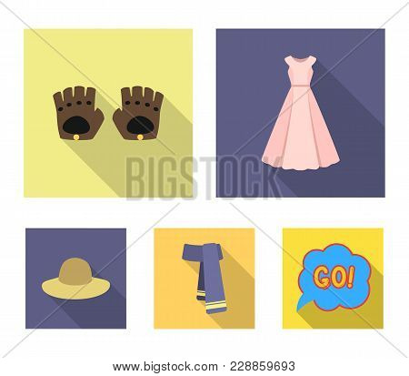 Dress, Gloves, Leather, Scarf And Other Clothes. Clothes Set Collection Icons In Flat Style Vector S
