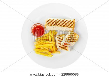 Sandwich With French Fries And Ketchup, Barbecue Sauce. View From Above. Serving, Serving For A Cafe