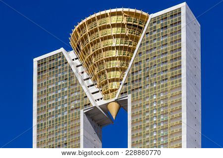 Benidorm, Spain, February 16, 2018: Highest Skyscraper Building In Benidorm, Spain - Intempo. It Is