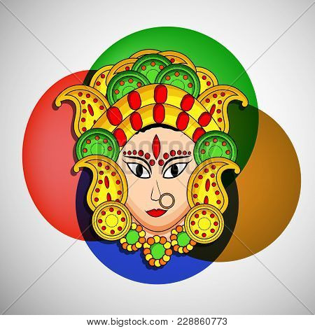 Illustration Of Face Of Hindu Goddess Durga On The Occasion Of Hindu Festival Navratri