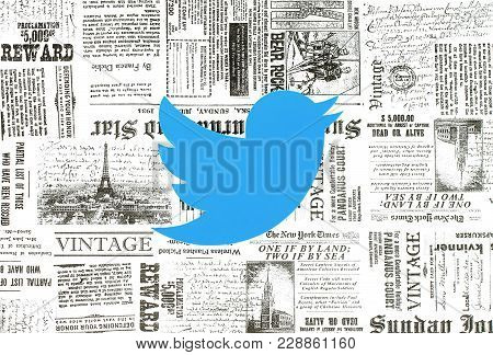 Kiev, Ukraine - January 15, 2018: Twitter Logo Printed On Paper And Placed On Retro Newspaper Backgr