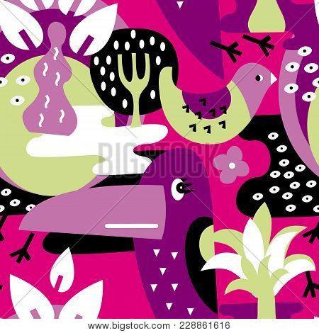 Seamless Vector Pattern. The Stylized Images Of Birds And Plants. Toucan, Palm. Modern Design For Te