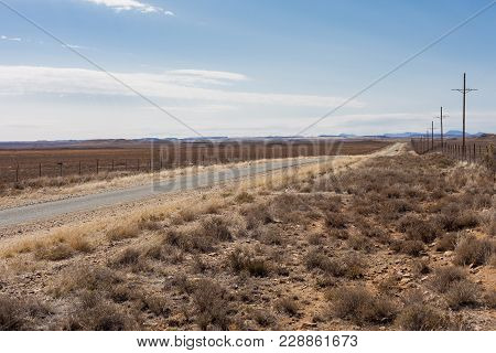 View Of A Desert Landscape With A Dirt Road And Sheep Farming In The Karoo Of South Africa