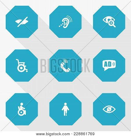 Set Of 9 Disabled Icons Set. Collection Of Listening Device, Universal Access, Lens And Other Elemen