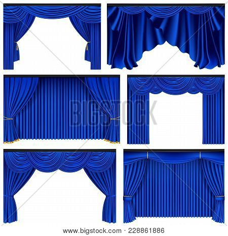Set Of Blue Luxury Curtains And Draperies On White Background