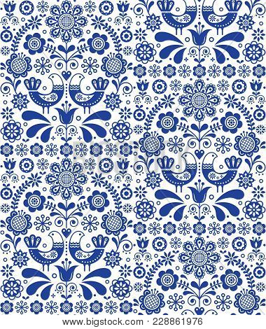 Scandinavian Seamless Folk Art Vector Pattern, Floral Repetitive Background With Birds And Flowers,
