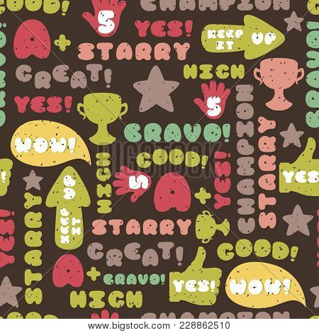 Cute Encouragement Phrases On Black Background Vector Seamless Pattern